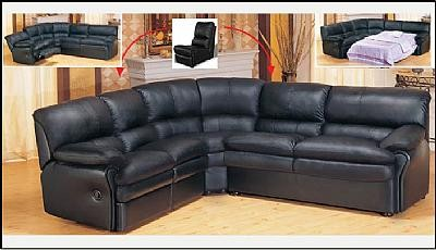 8160 Black Sectional Sofa-Sleeper