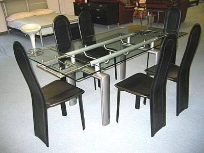 DINA Expandable Dining Table w/ Clear Glass Top
