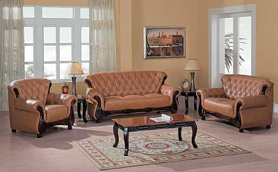 9110br leather living room set for Complete living room sets
