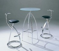 Cafe-37 Glass and Steel Bar Table