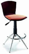 Barstool 52 Walnut/Beige Swivel Height Bar Stool