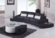 F282BL BLACK Leather Sectional