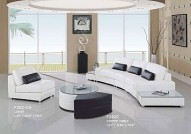 F282WH White Leather Sectional